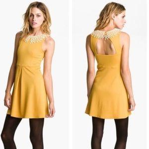 FREE PEOPLE mustard Crochet Fit Flare dress XS